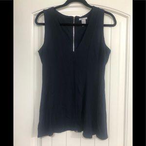 H&M Navy Sleeveless Peplum Blouse Long Back Zipper